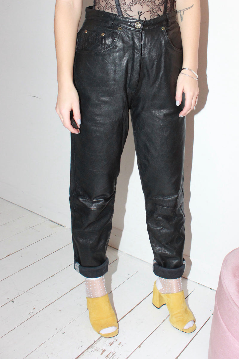 Vintage 80s Black Leather Highwaisted Trousers