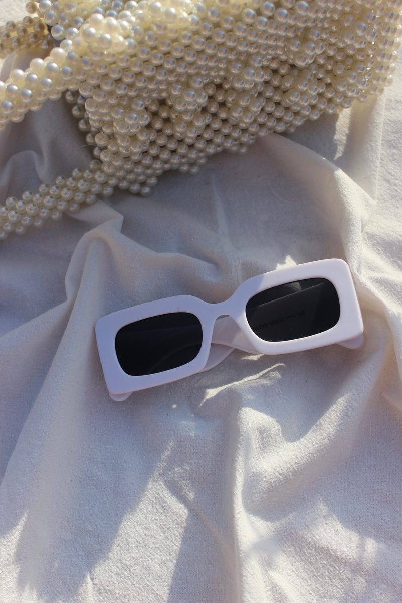 'MIAMI VICE' White Chunky Frame Sunglasses