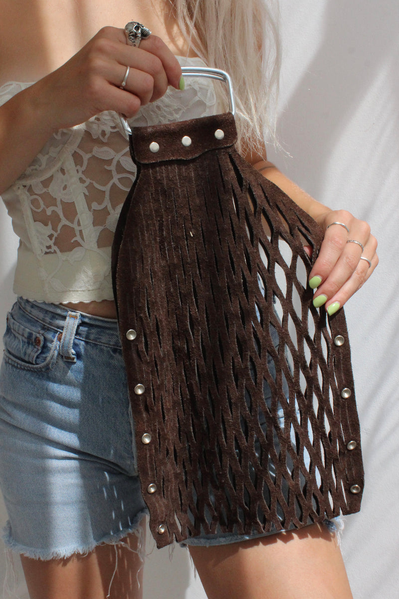 Vintage 1970s Brown Suede Studded Mesh Shopper Tote Bag