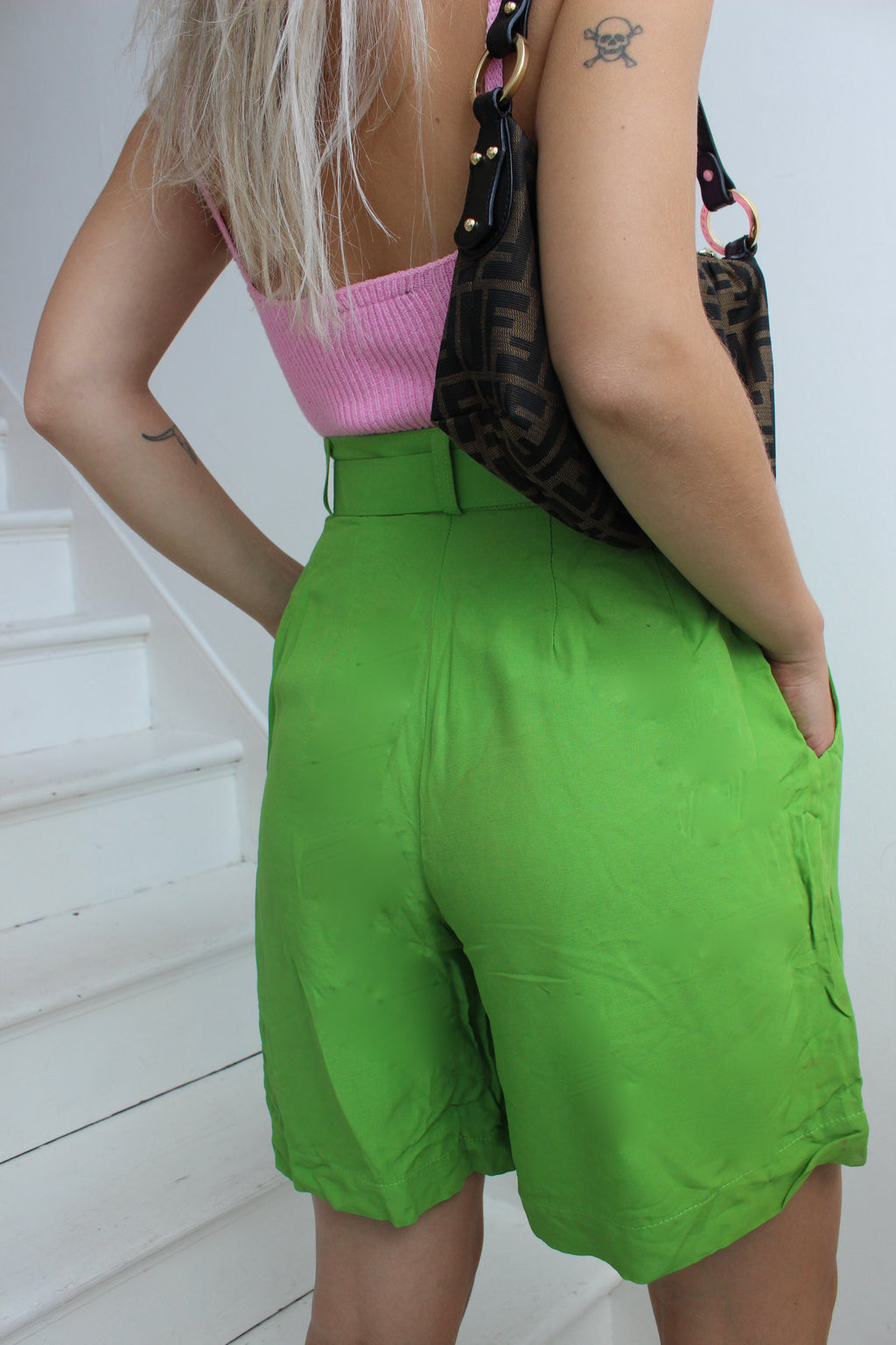 Vintage 80s Apple Green Highwaisted Culotte Shorts