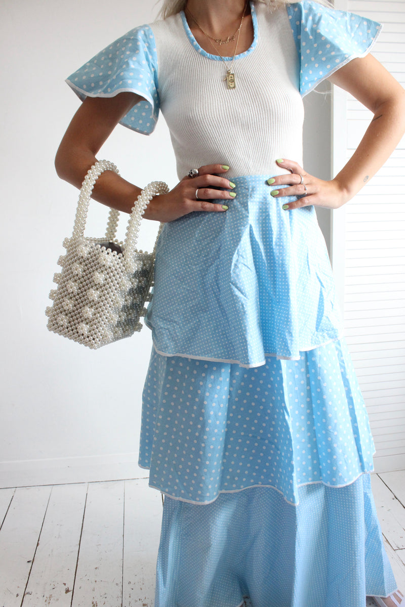 Rare Vintage 1970s Baby Blue Polka Dot Ruffled Prairie Dress