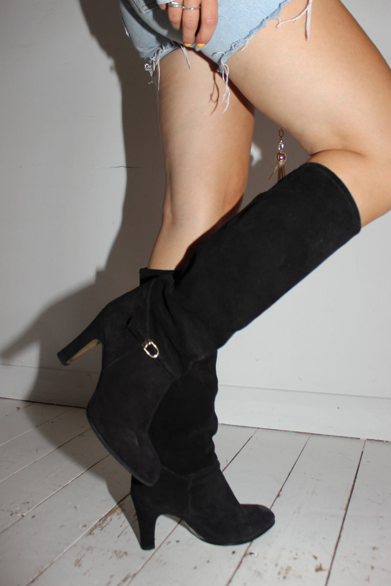 Vintage 1970s Suede Knee High Boots