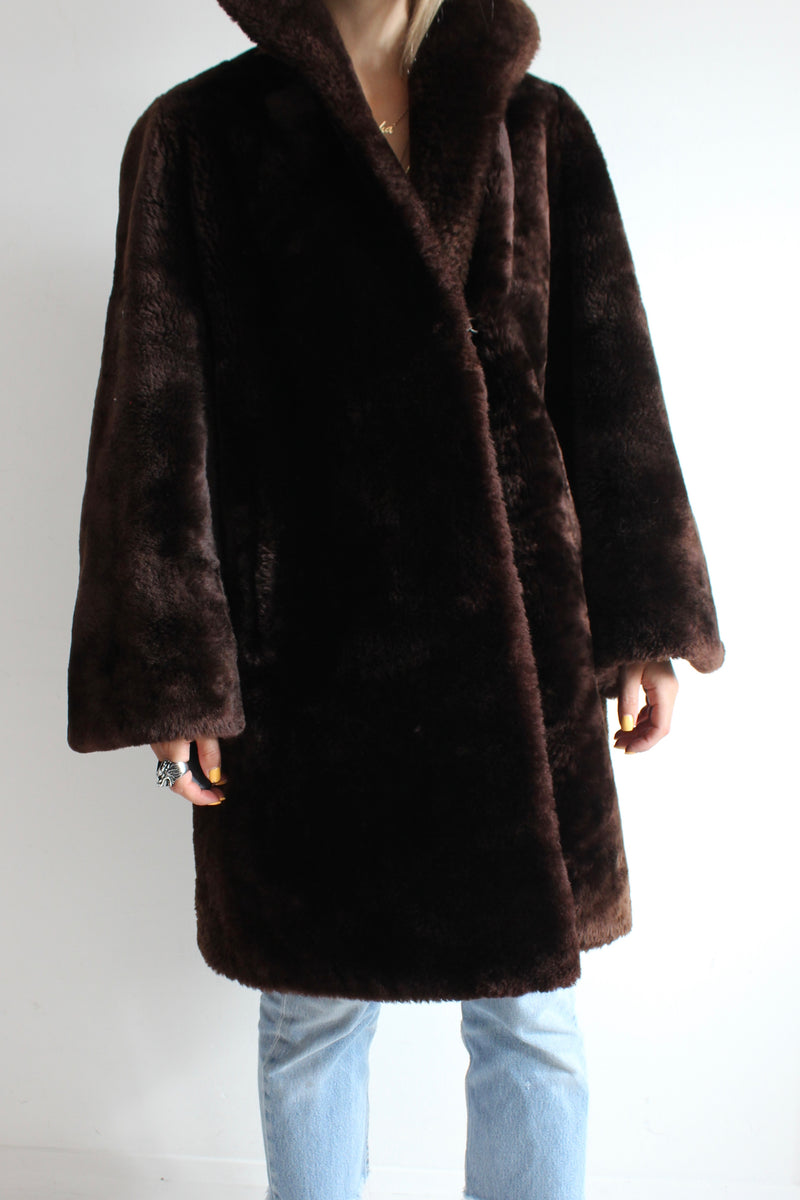 Vintage 60s Chocolate Brown Trimmed Shearling Sheepskin Coat