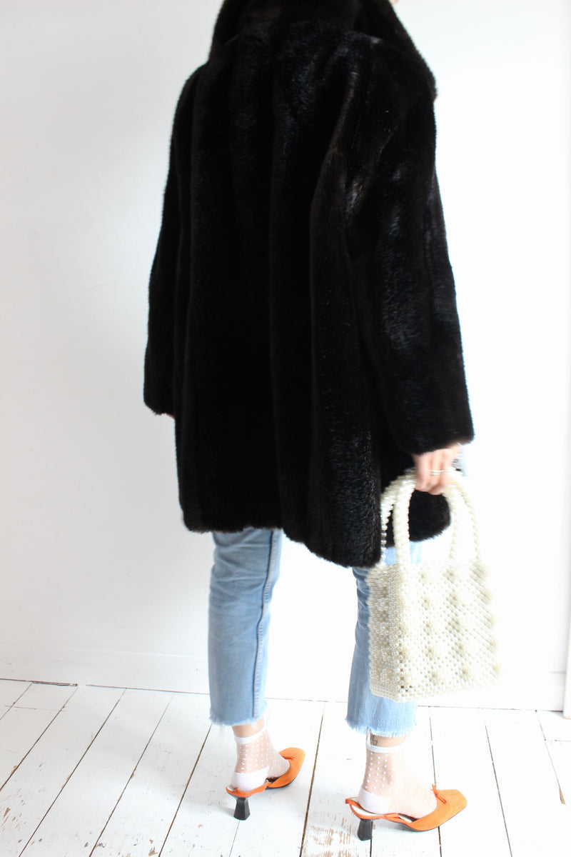 Vintage 60's Dark Brown Faux Mink Fur Jacket