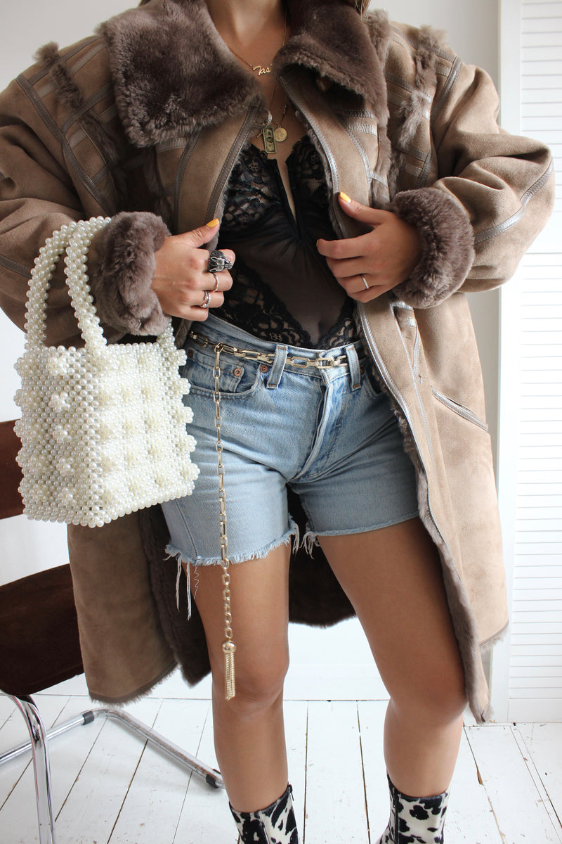 Vintage 1980s Brown Real Shearling Sheepskin Jacket / Coat