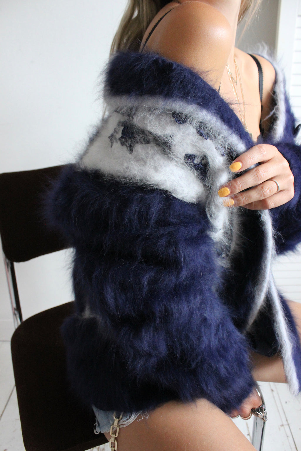 Vintage 1980s Navy & Light Blue Angora Knitted Cardigan Jacket