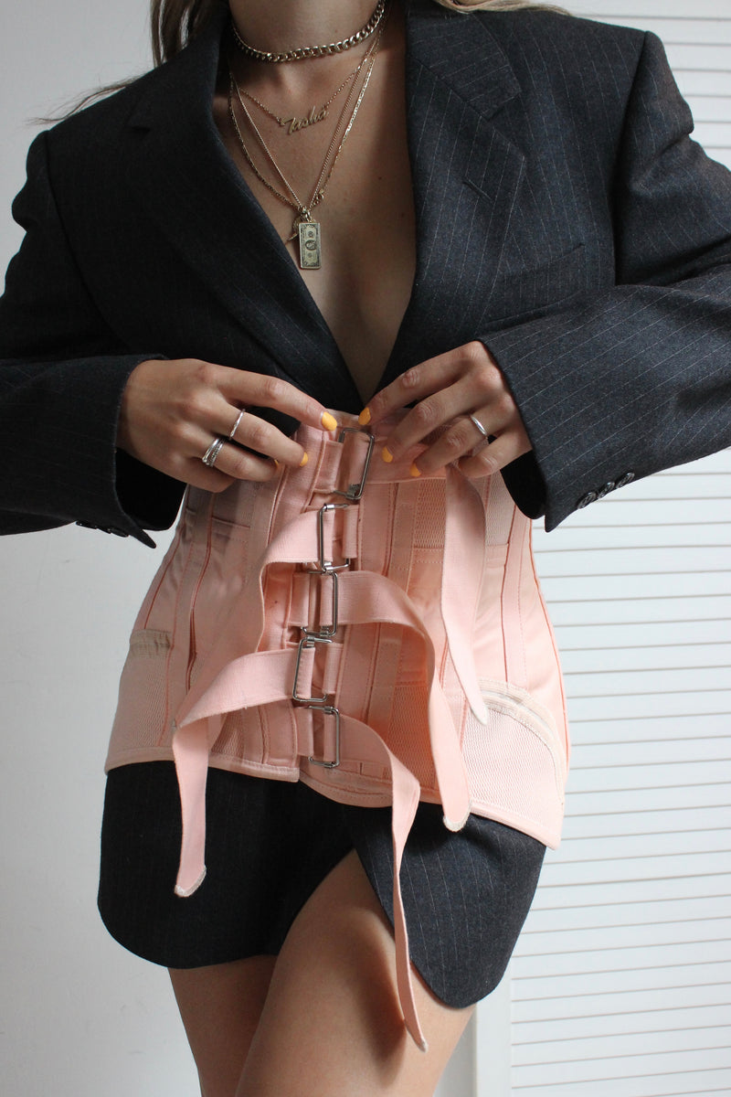 Rare Vintage 50s Peach Boudoir Boned Medical Corset