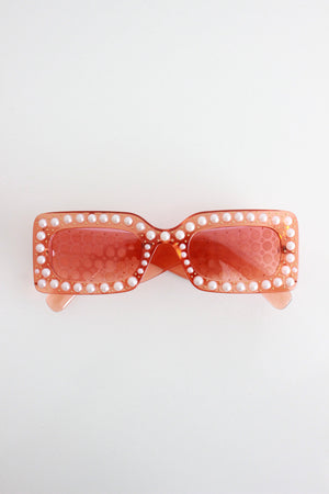 Clear Peach Pearl Encrusted Chunky Fram Sunglasses