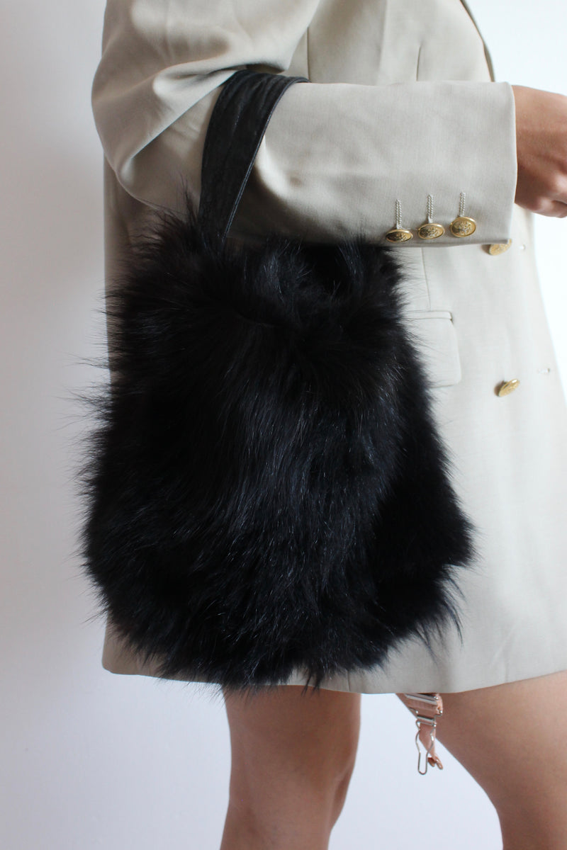 Vintage 80s Dark Brown/Black Leather & Real Fur Handbag