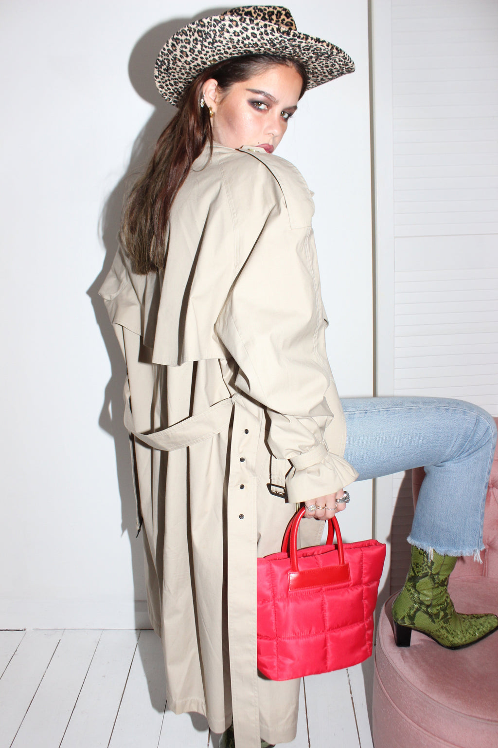 Vintage 80s Nude Camel Oversized Trench Jacket
