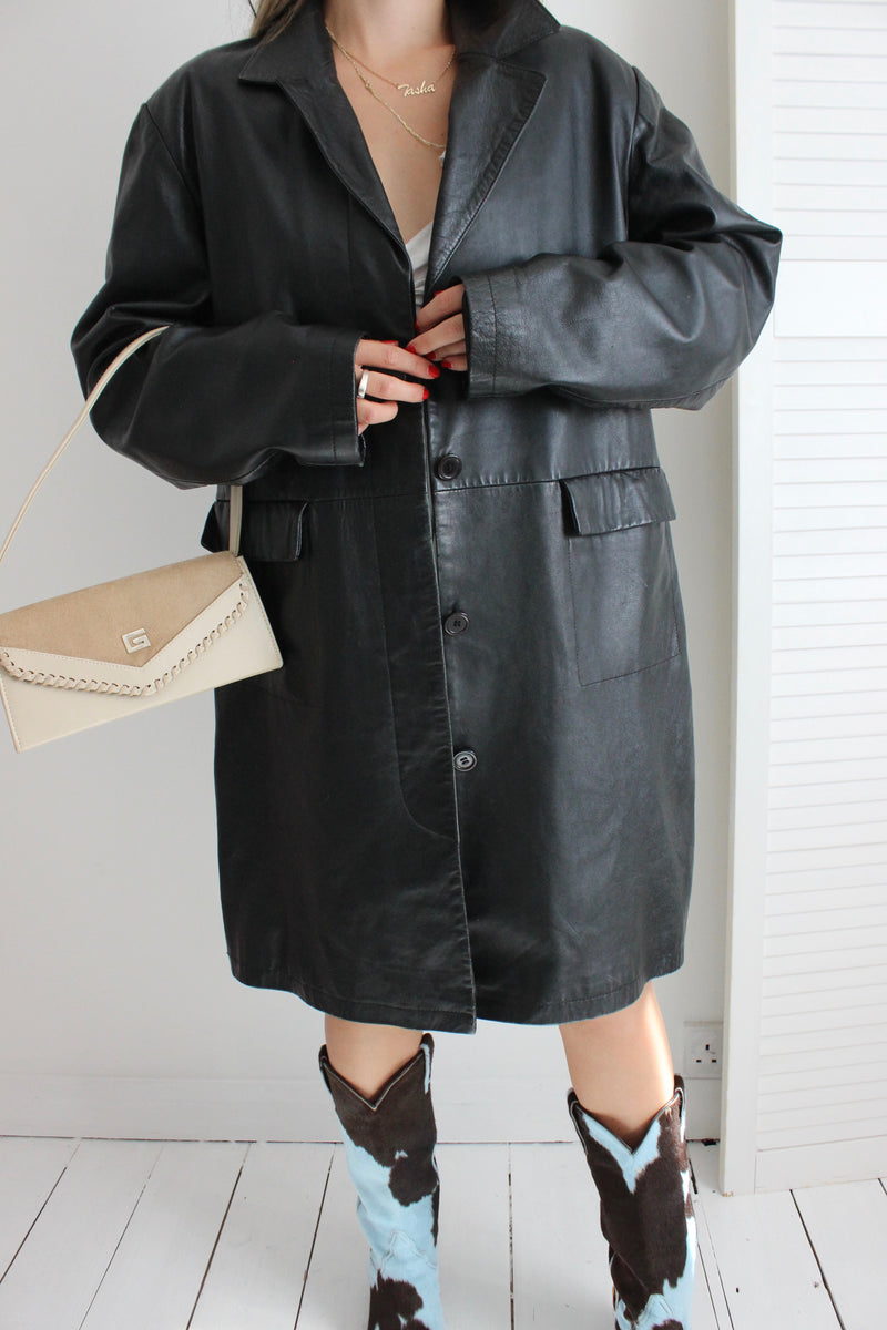 Vintage 90s Y2K Long Black Leather Trench Jacket