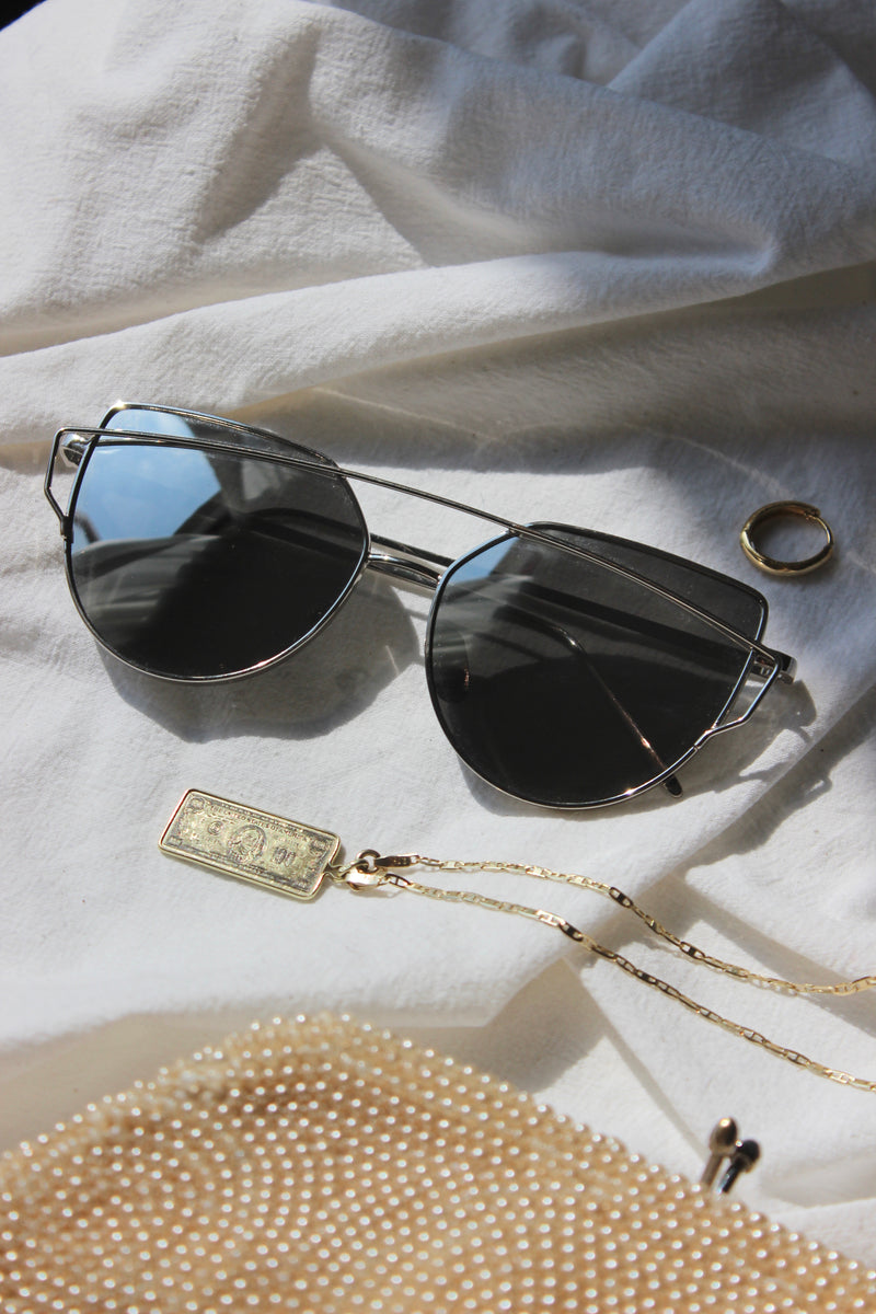 Silver Mirror Lens Aviator Cat Eye Style Sunglasses