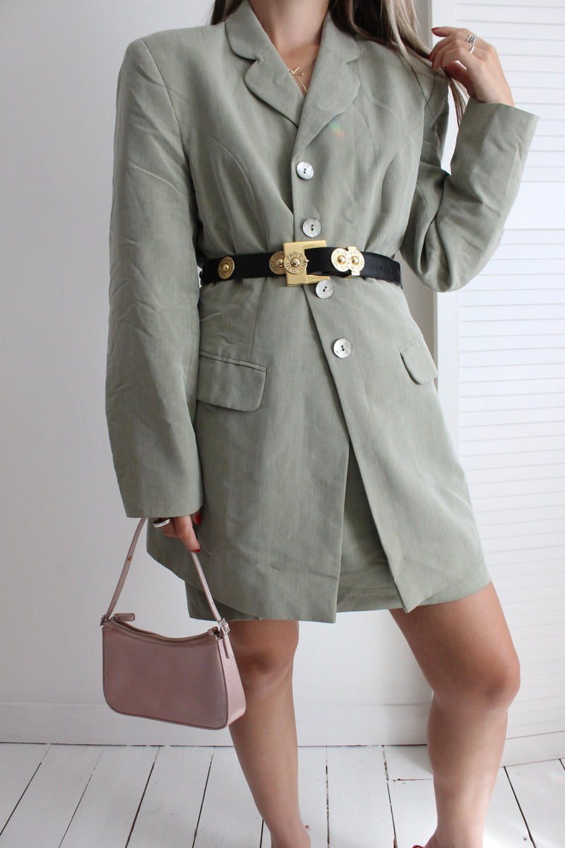 Vintage 90s Green Two Piece Skirt & Blazer Jacket Set