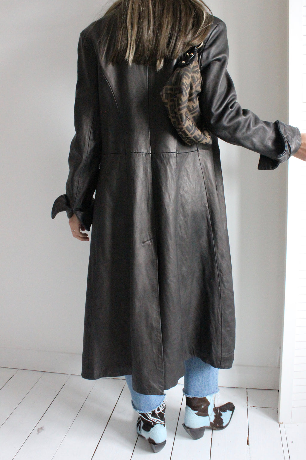 Vintage Y2k 90s Long Black/Brown Leather Goth Rave Trench Jacket