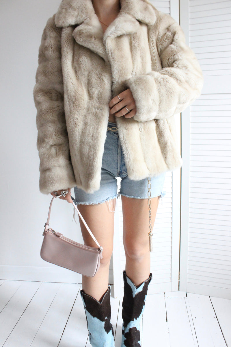 Vintage 60s Blonde Plush Faux Fur Jacket