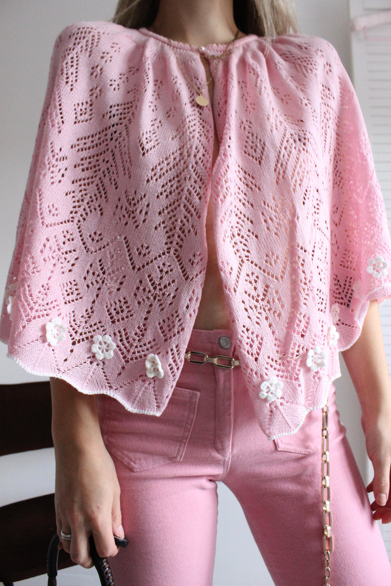 Vintage 1960 Baby Pink Knitted Shawl/Cape With Little Flowers