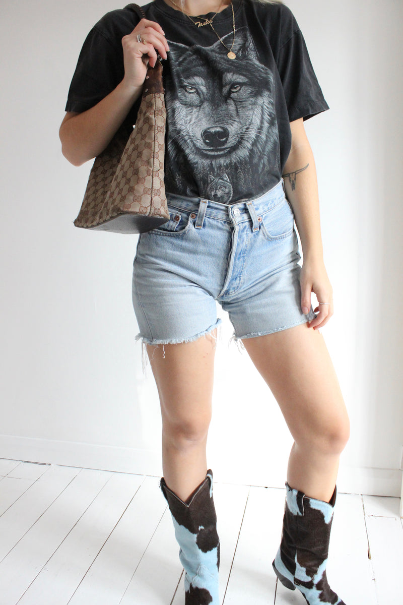 Vintage 90s Faded Black Wolf T-Shirt