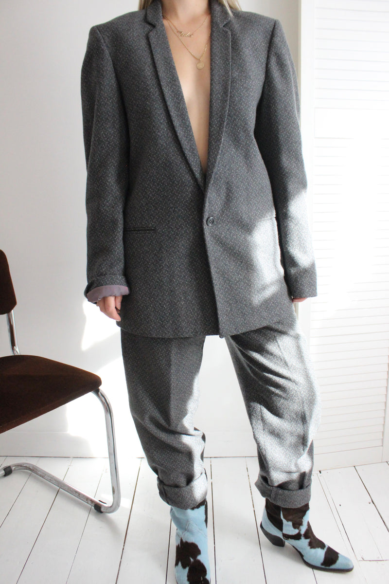 Vintage 70s Dark Grey Pure Wool Oversized Two Piece Suit