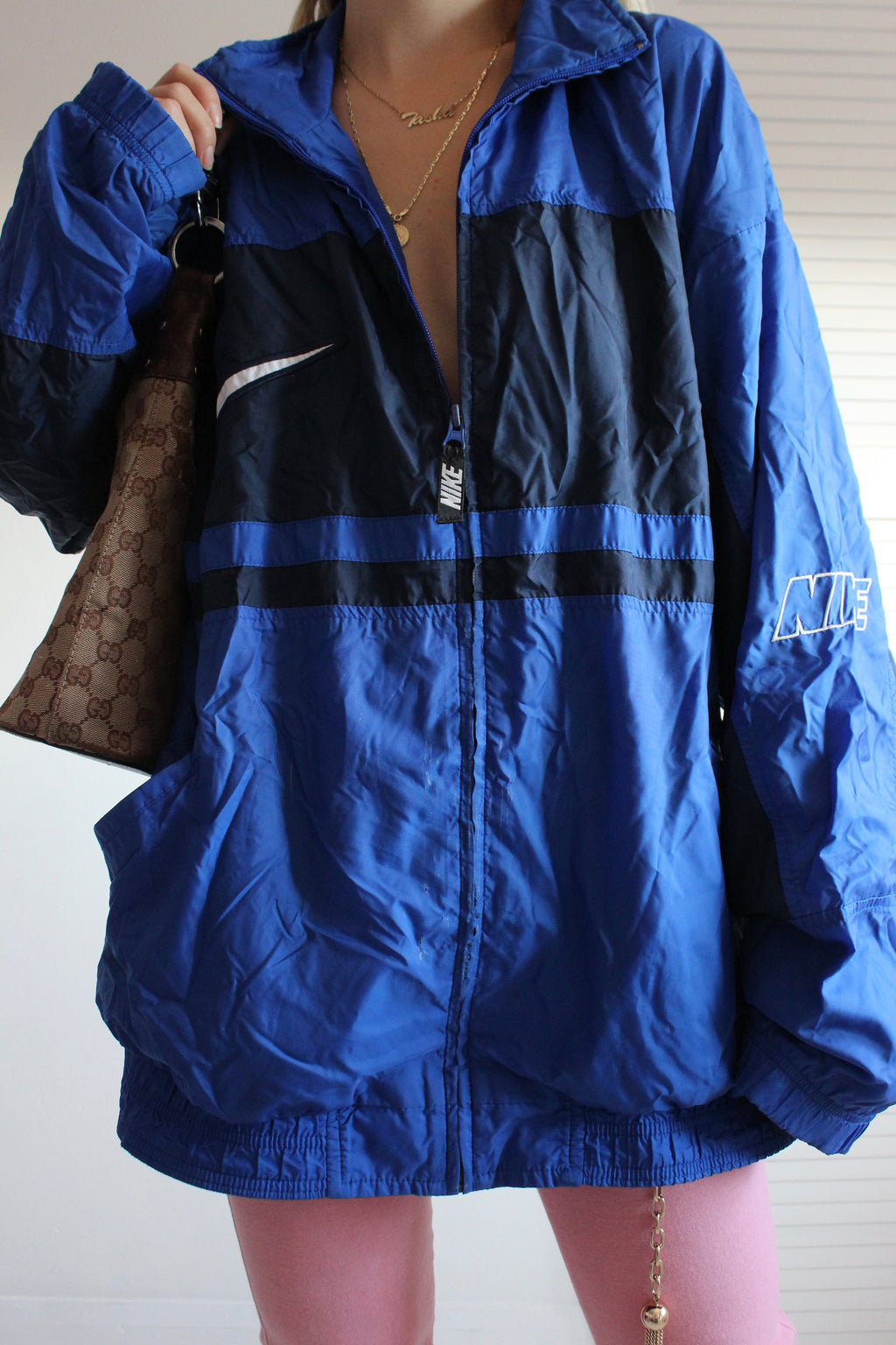 Vintage 90s Navy Blue Nike Zip Up Tracksuit Jacket
