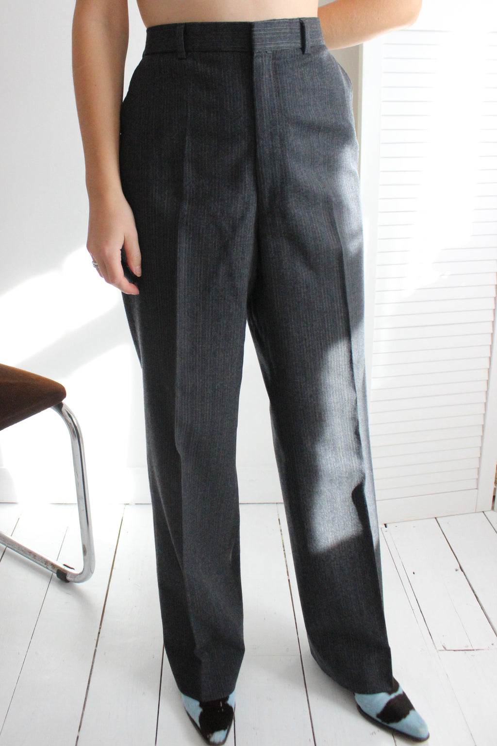 Vintage 90s Dark Grey Oversized Wool Mix Suit