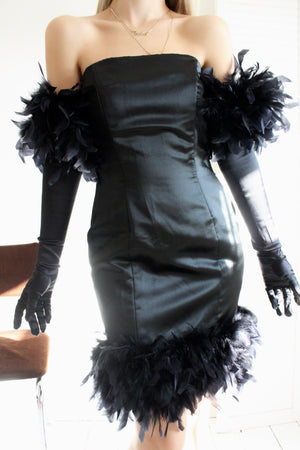 Vintage 90s Black Strapless Satin LBD Dress With Ostrich feather Trim & Long Gloves With Feather Trim