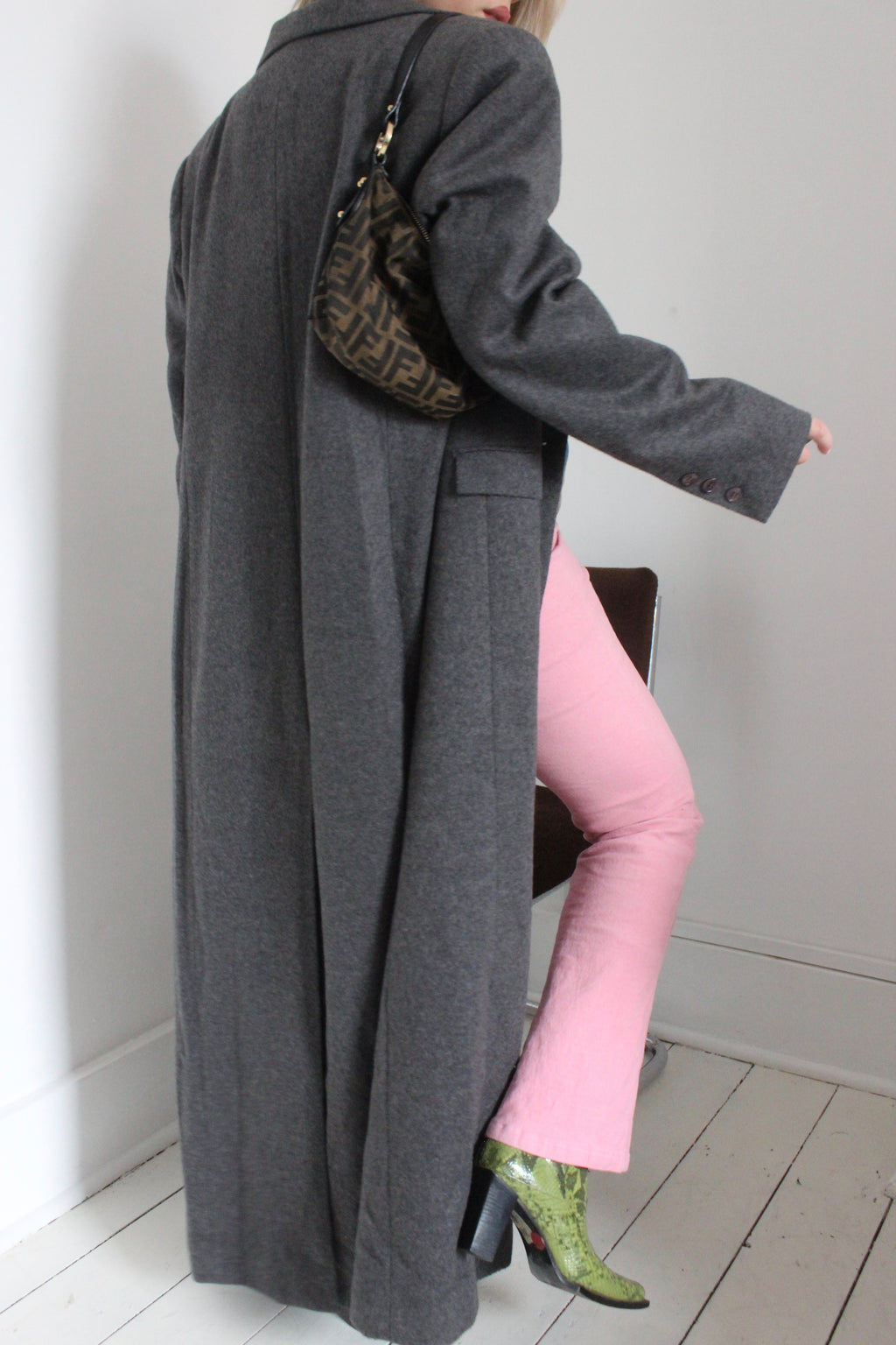 Vintage 90s Dark Grey Wool & Cashmere Mix Long Rave Trench Coat