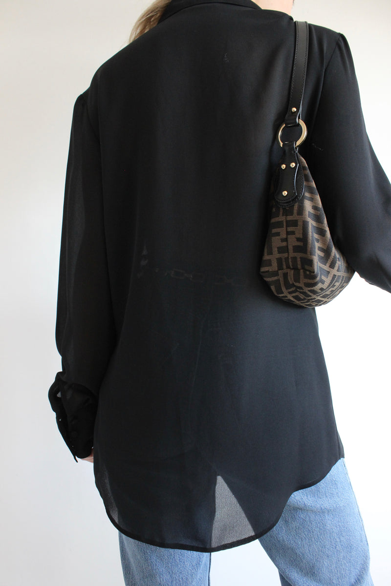 Vintage 90s Sheer Matt Black Blouse With Floral Beaded Detail