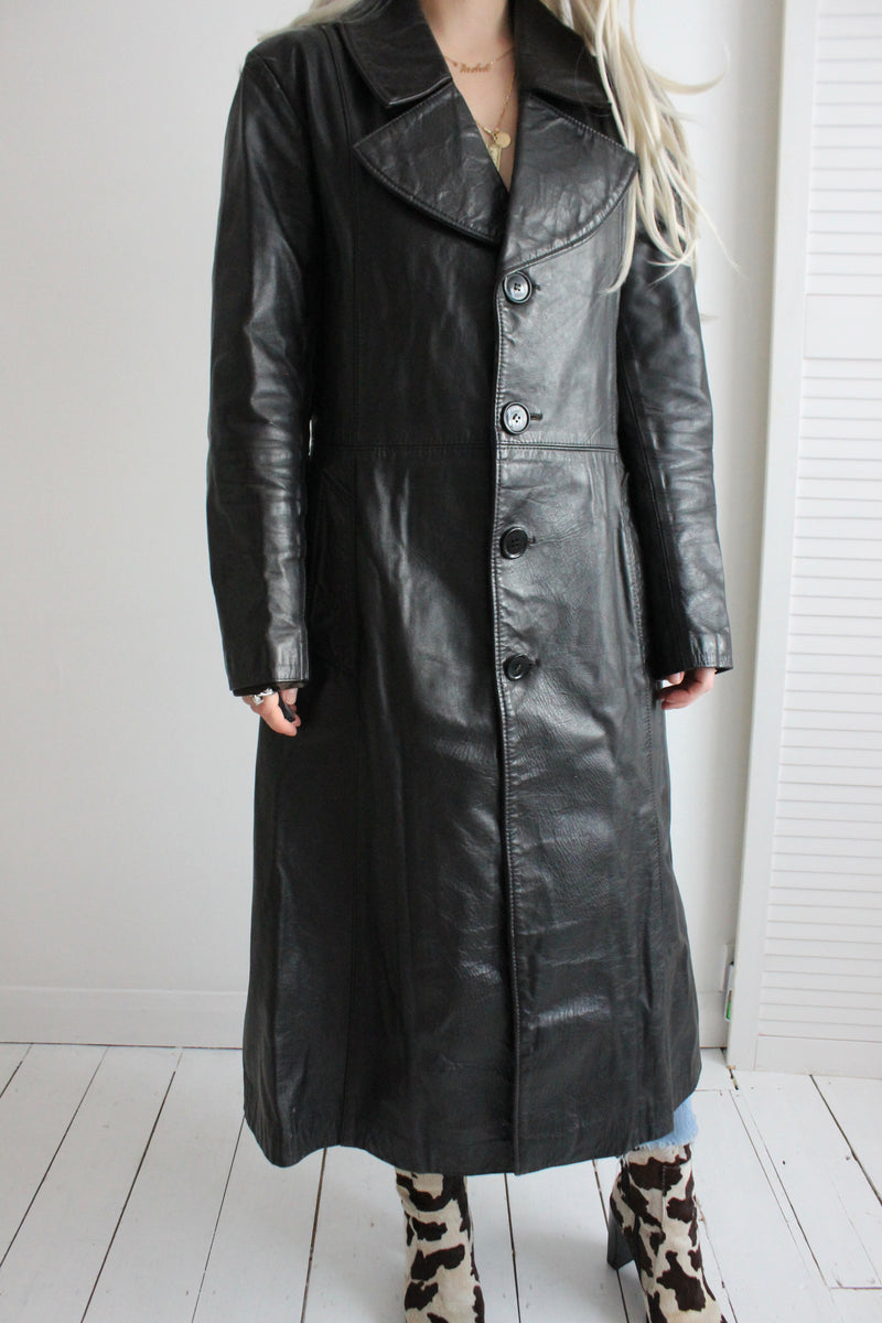Vintage 70s Black Long Goth/Rave Real Leather Trench Coat