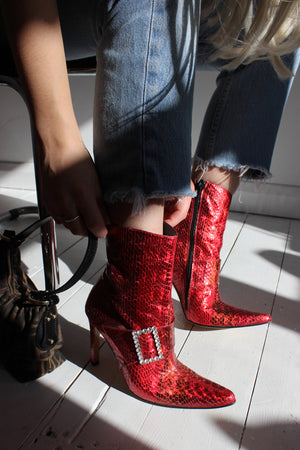 Vintage 90s Cherry Red Snakeskin Ankle Boots With Diamante Buckles