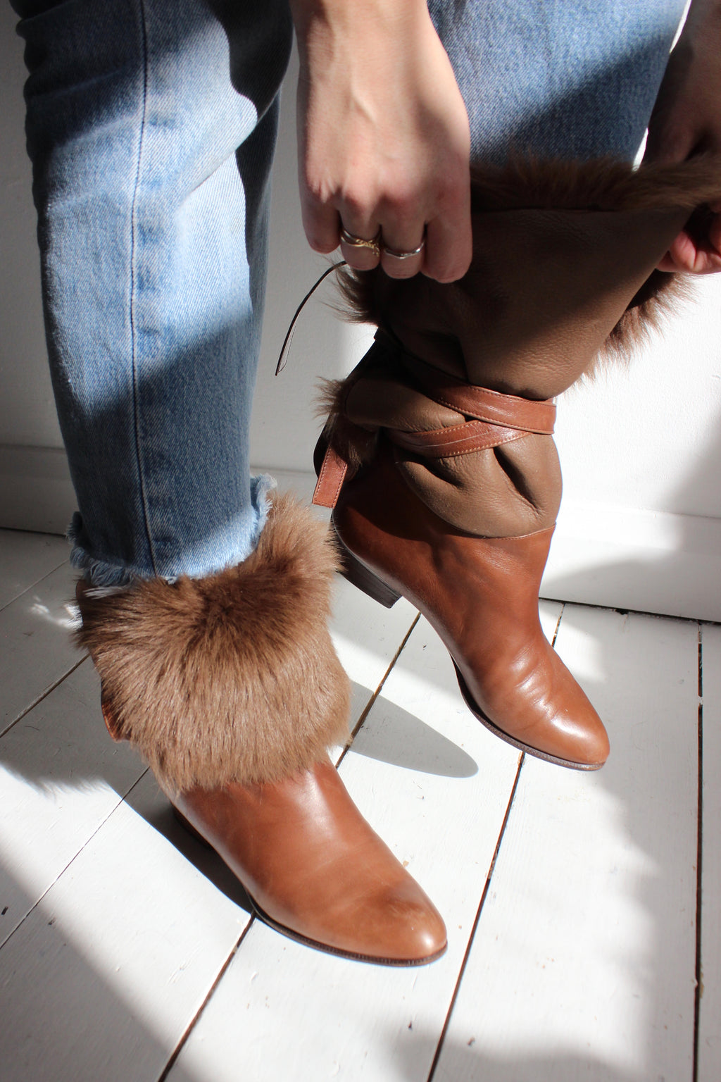 Premium Vintage 80s Brown Real Sheepskin Fur Leather Ankle Boots