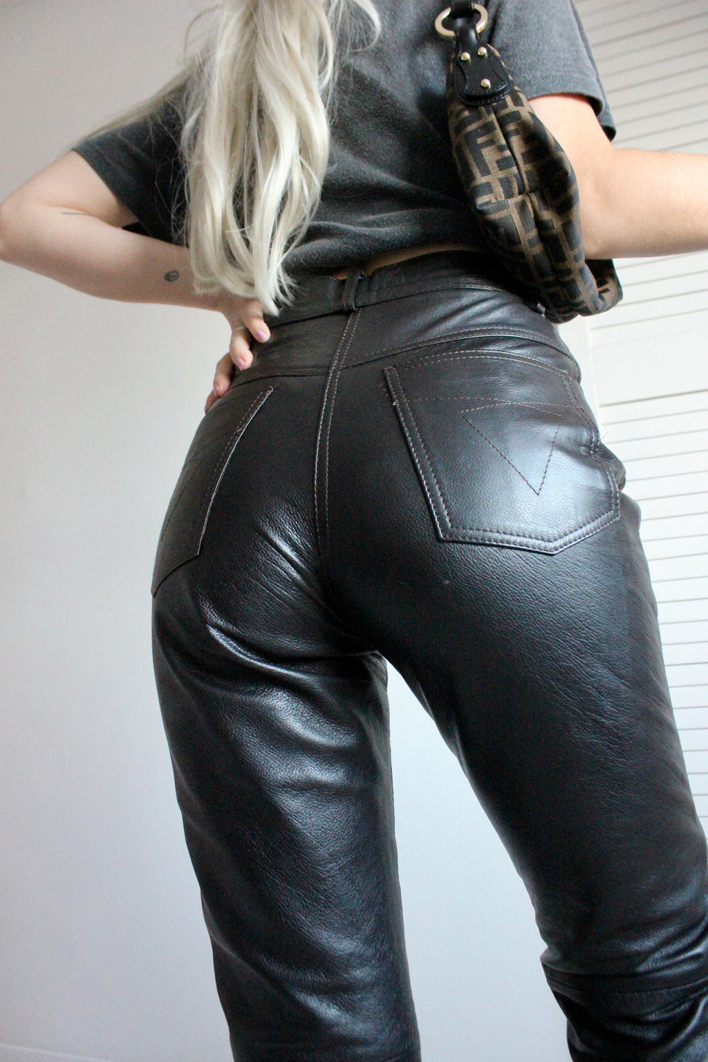 Vintage 90s Dark Brown High Waisted Real Leather Trousers