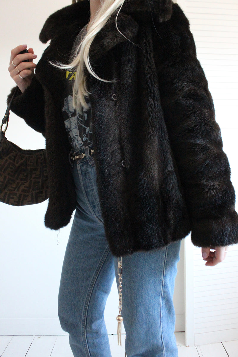 Vintage 1960s Dark Brown Faux Fur Jacket