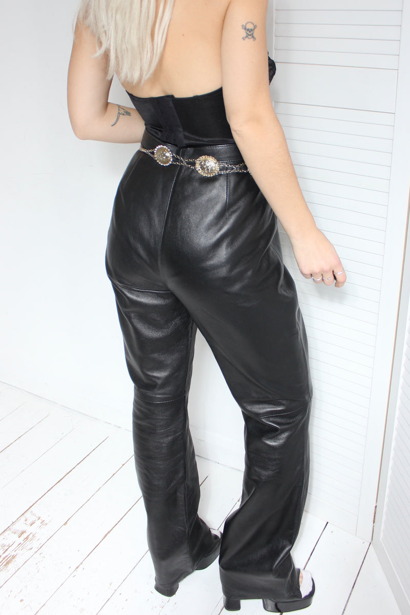 Vintage 90s Black Leather Highwaisted Trousers