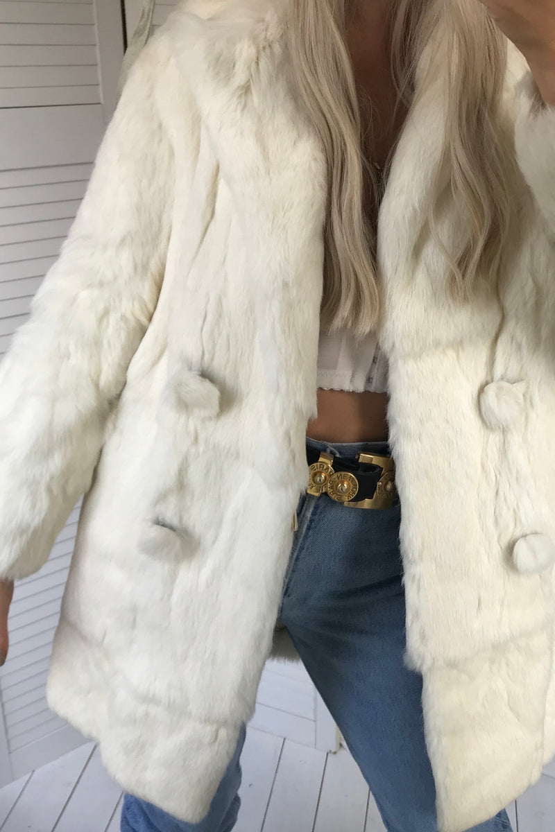 Premium Vintage 1960s Cream Double Breasted Real Coney Fur Jacket