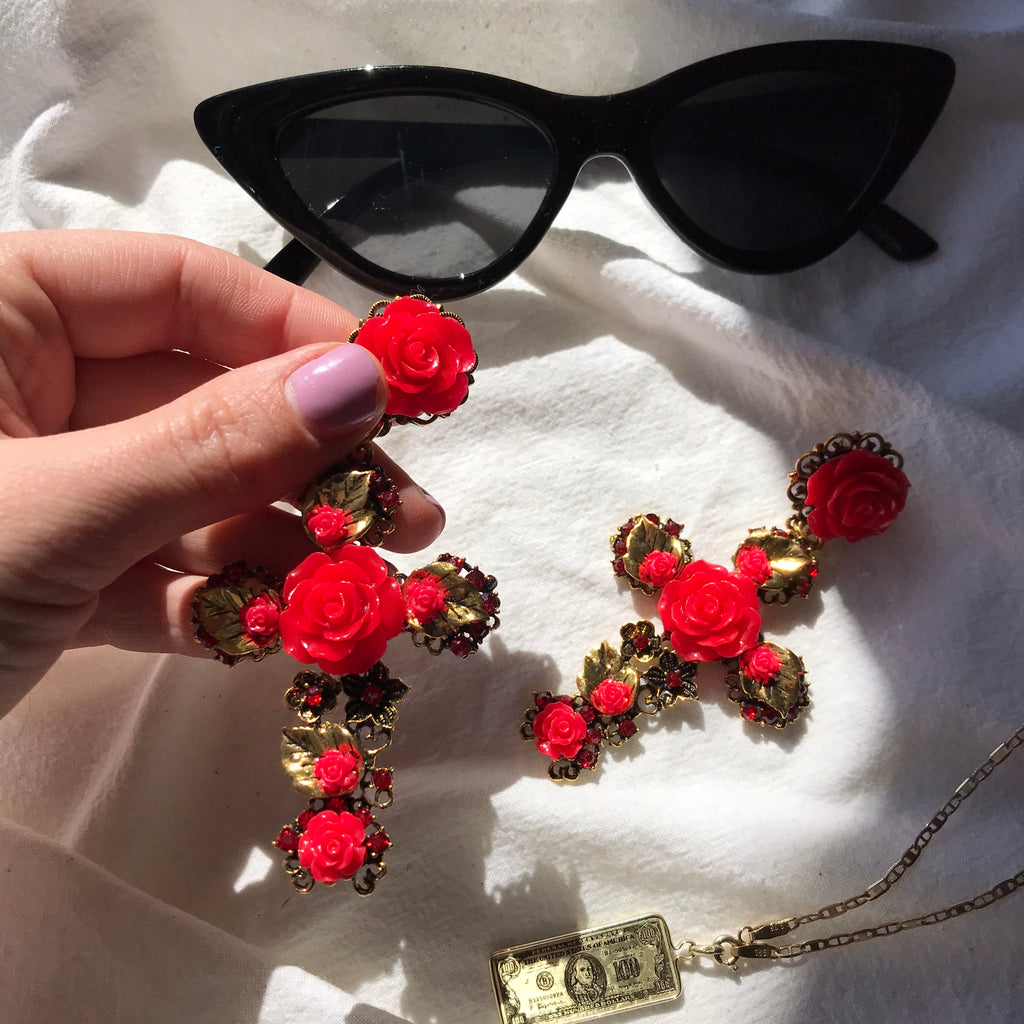 Oversized Red & Brass coloured Floral Cross Earrings