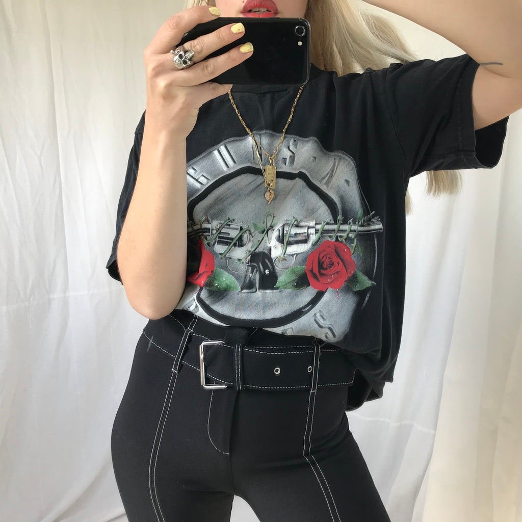 Vintage 90s Guns & Roses Black Faded 100% Cotton T-Shirt