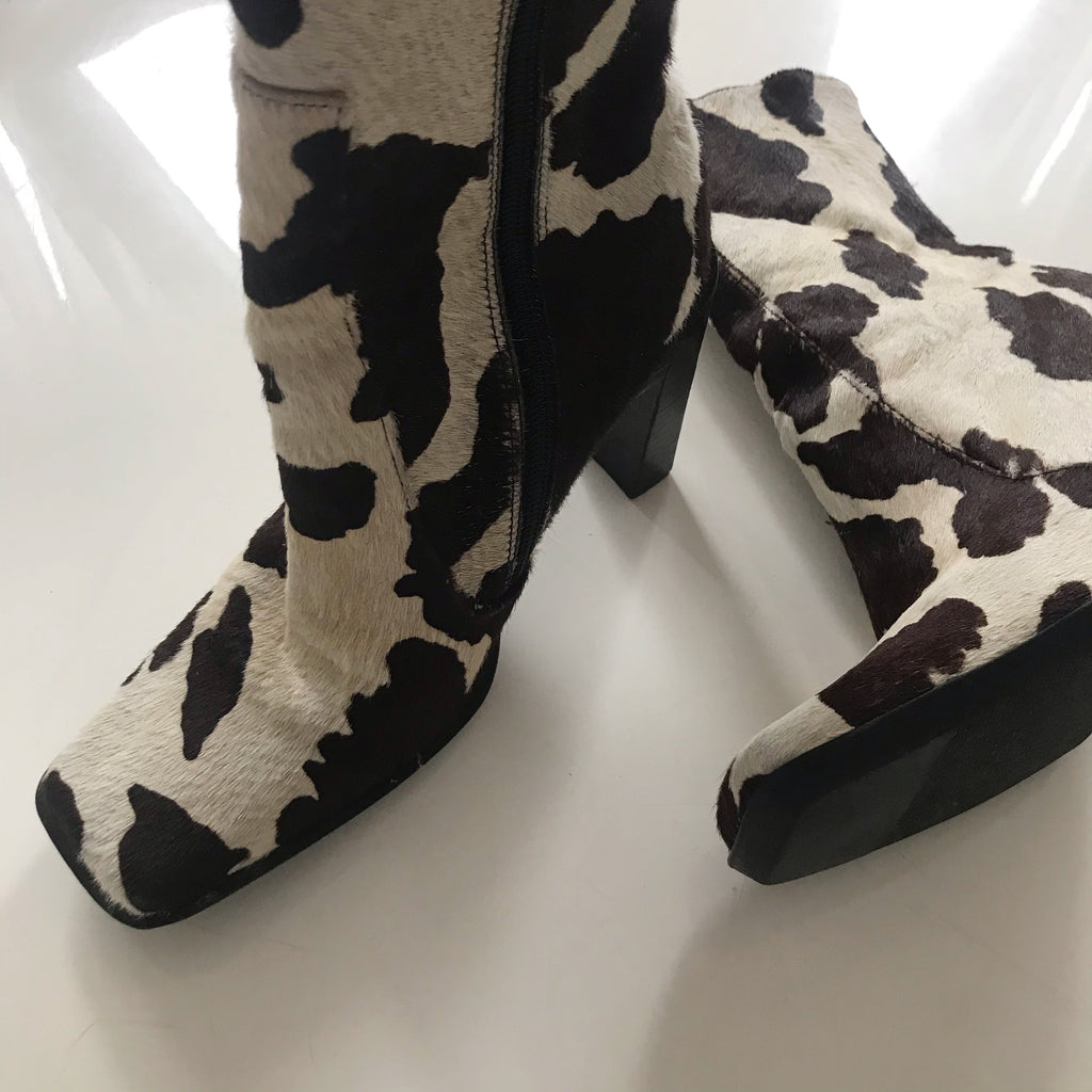 The Most Incredible Vintage 1990s Cream & Brown Cow Print Pony Skin High Heeled Boots