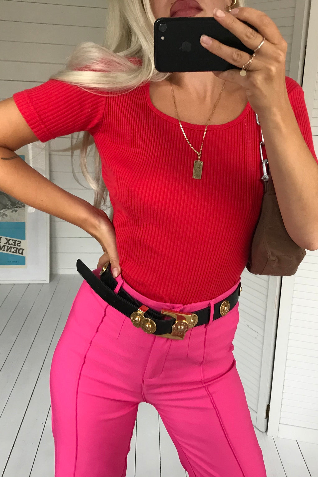 Vintage 70s Hot Red Ribbed T-Shirt Top