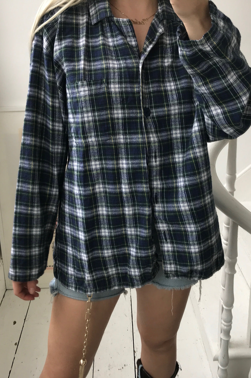 Vintage 90s Blue was & Cream Checked Farmer Lumberjack Flannel Shirt