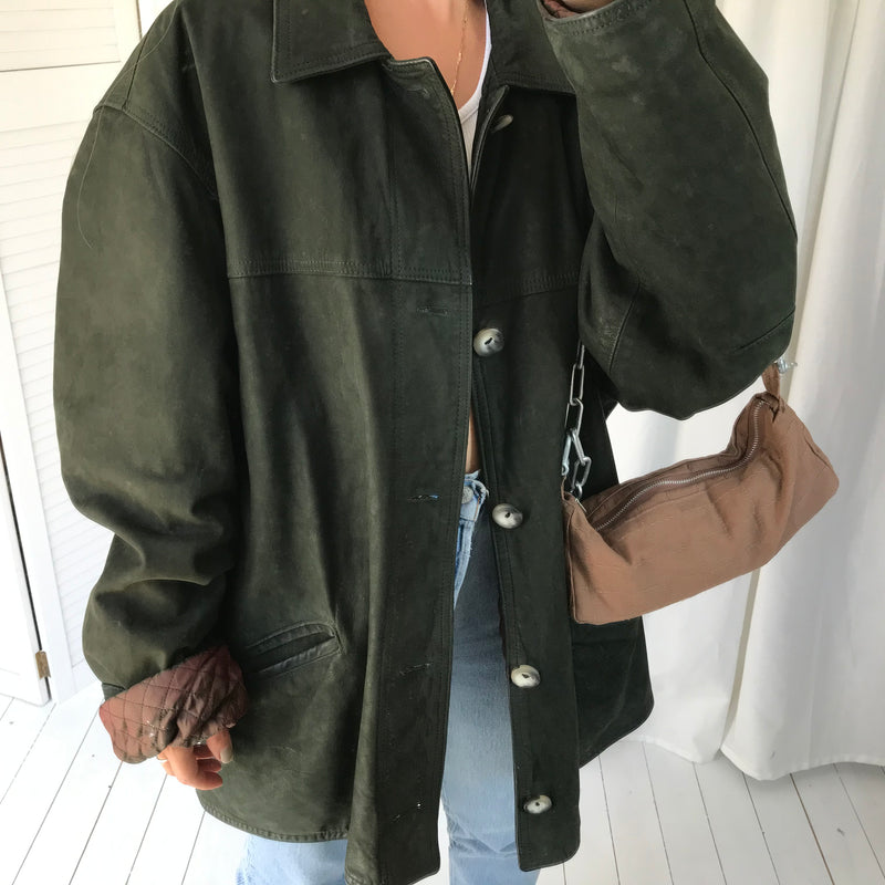 UNISEX Vintage 1980s /90s Dark Green 100% Butter Soft Suede Jacket With Quilted Lining