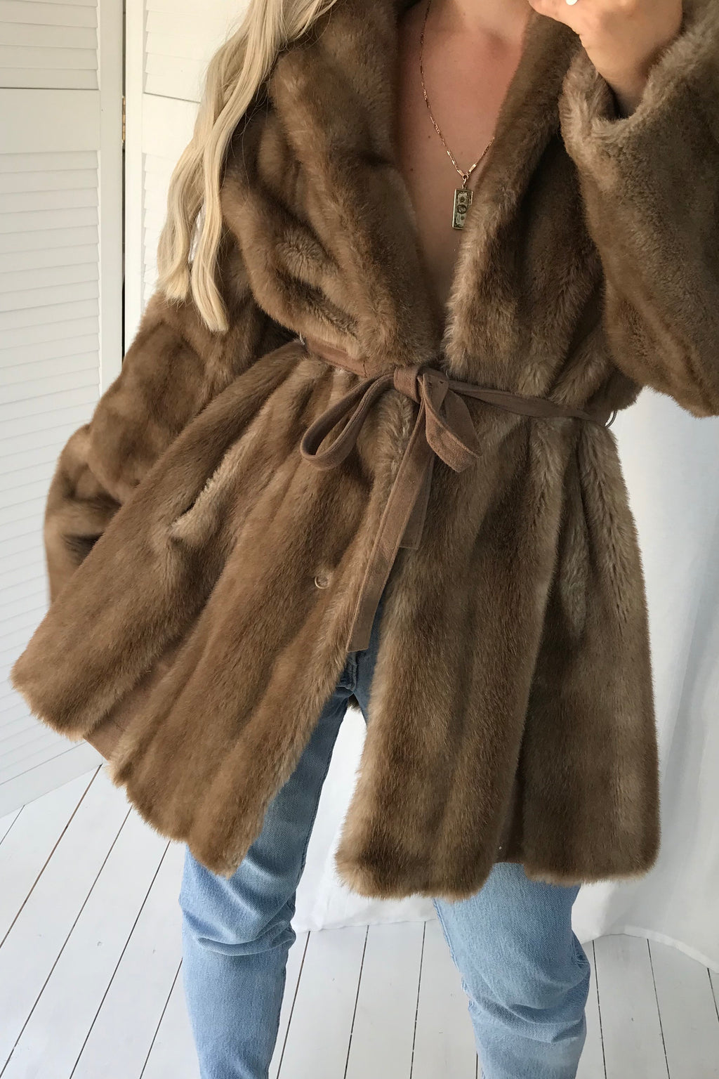 PREMIUM Vintage 1970s Brown Faux Mink Simulation Fur Jacket