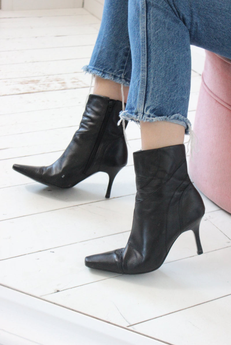 Vintage 90s Black Leather Mid Stiletto Heeled Ankle Boots