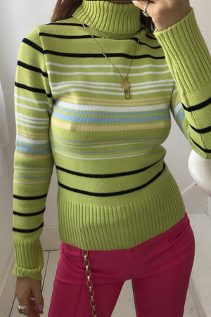 Vintage 90s Y2K Lime Green Striped Roll Neck Top