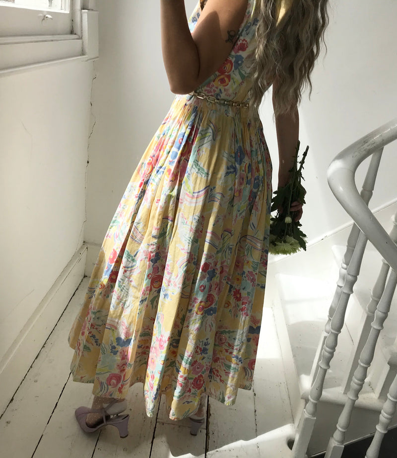 Vintage True 80s Pastel Yellow Cotton Floral Prairie Midi Dress