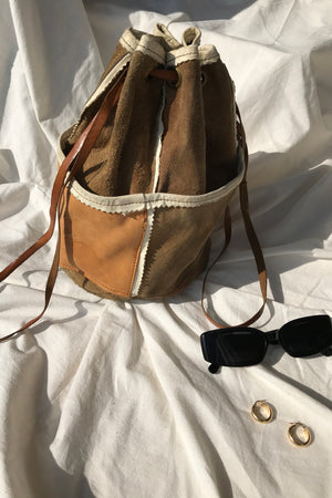 Vintage 70s Tan Suede & Leather Mini Bucket Bag