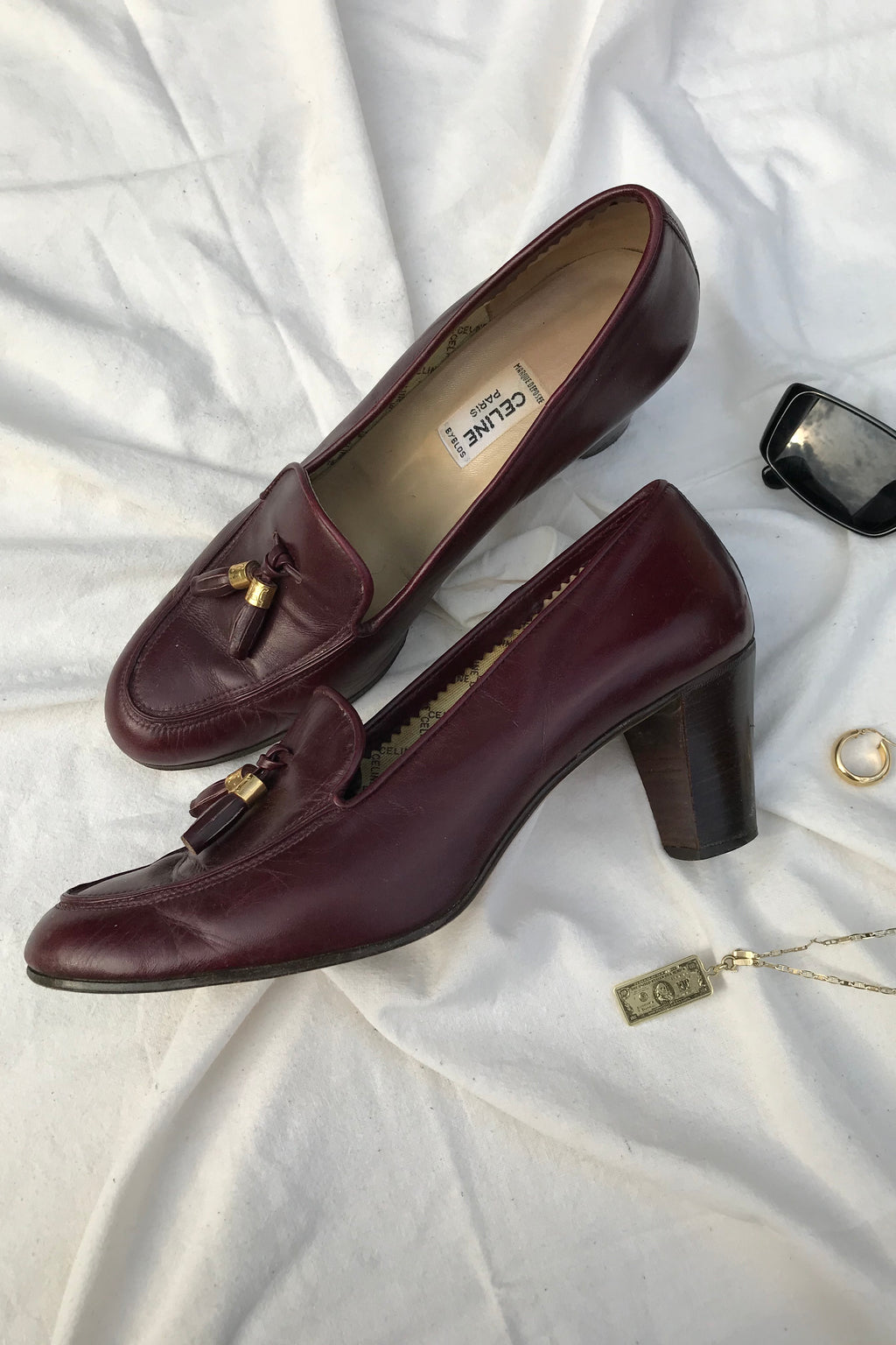 Vintage 90s Maroon Leather Celine Loafer Heels