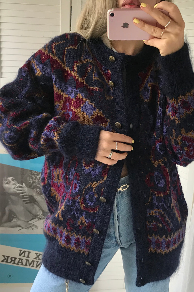 Vintage 80s Mohair Wool / Acrylic Blend Fluffy Button Up Cardigan With Abstract Print