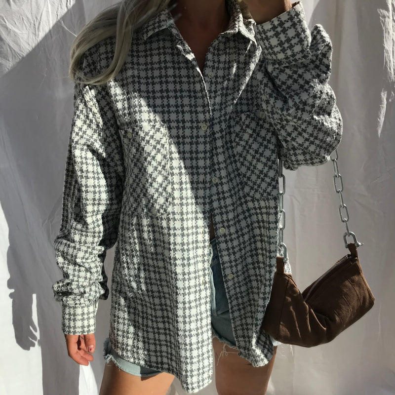 Vintage 90s Grey & White Dogtooth Cotton Shirt