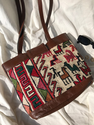 Vintage 90s Handmade Brown Leather Turkish Wool Kilim Handbag