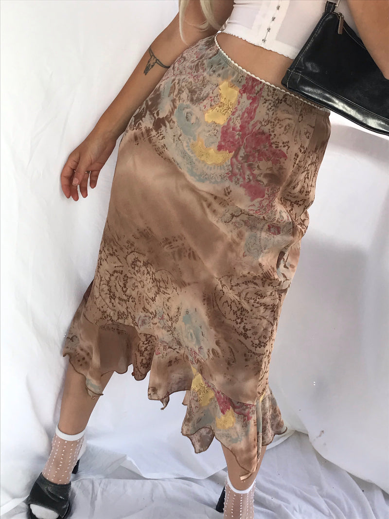 Vintage Y2K 90s Nude & Brown Midi Skirt With Ruffle Trim